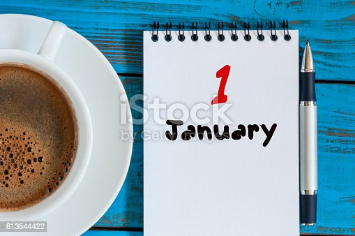 istock January 1st. Day 1 of month, calendar on teacher workplace 613544422