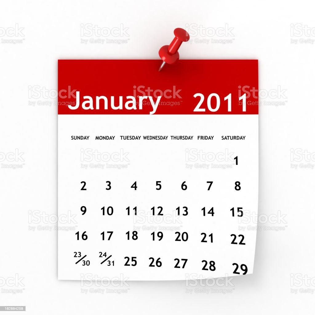 January 2011 - Calendar series stock photo