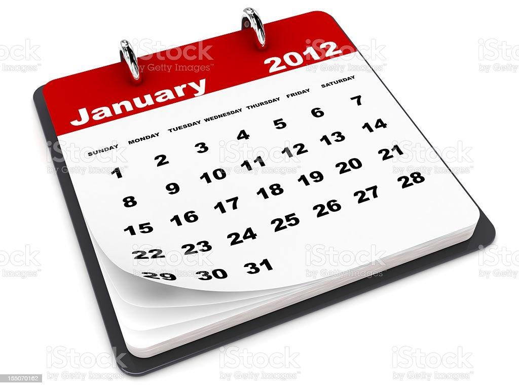 January 2012 Calendar stock photo