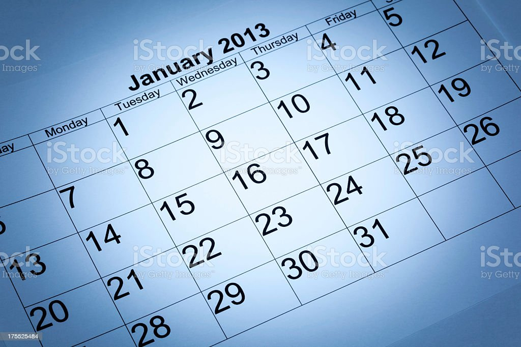 January 2013 calendar stock photo
