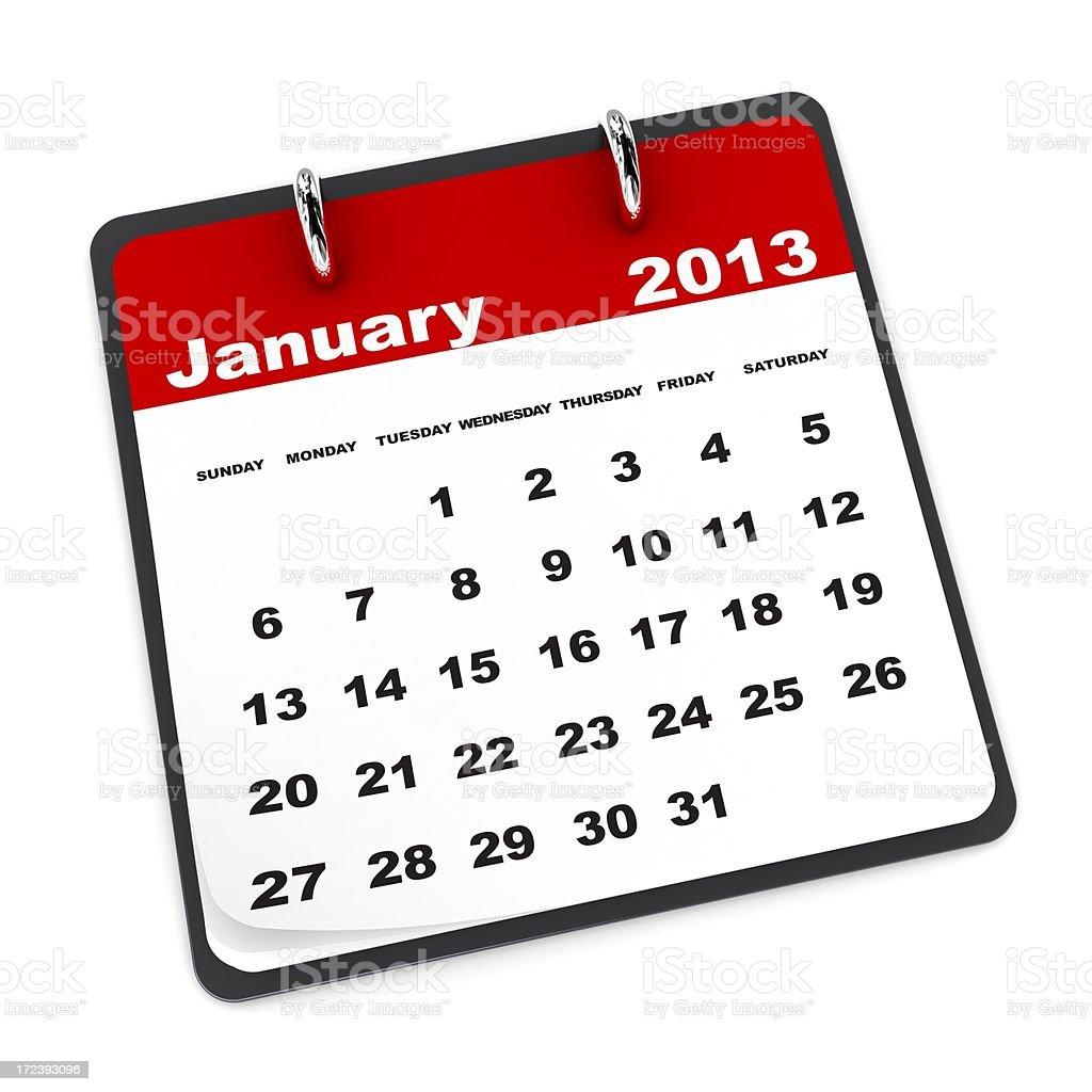 January 2013 - Calendar series royalty-free stock photo