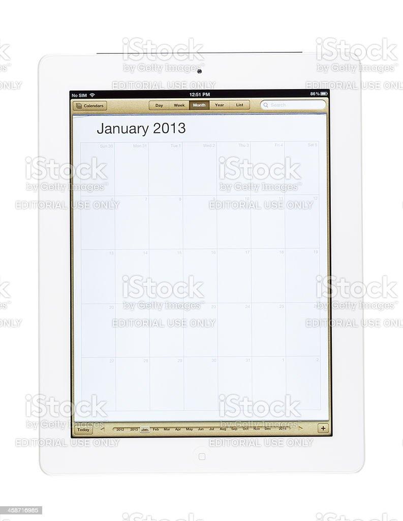 Calendario Gennaio.Calendario Gennaio 2013 Su Nuovo Ipad Fotografie Stock E