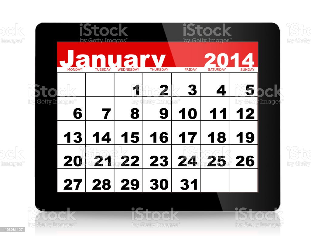 January 2014 Calendar on digital tablet royalty-free stock photo