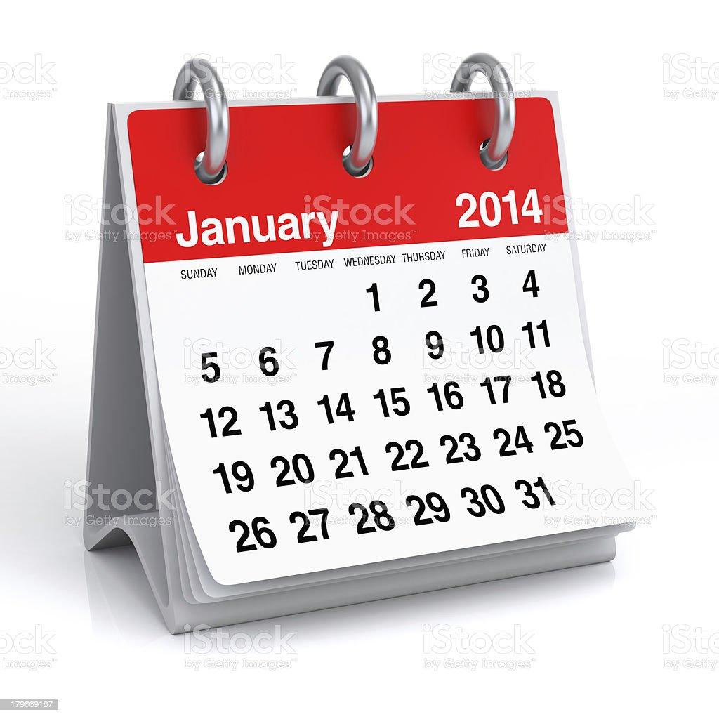 January 2014 - Calendar royalty-free stock photo