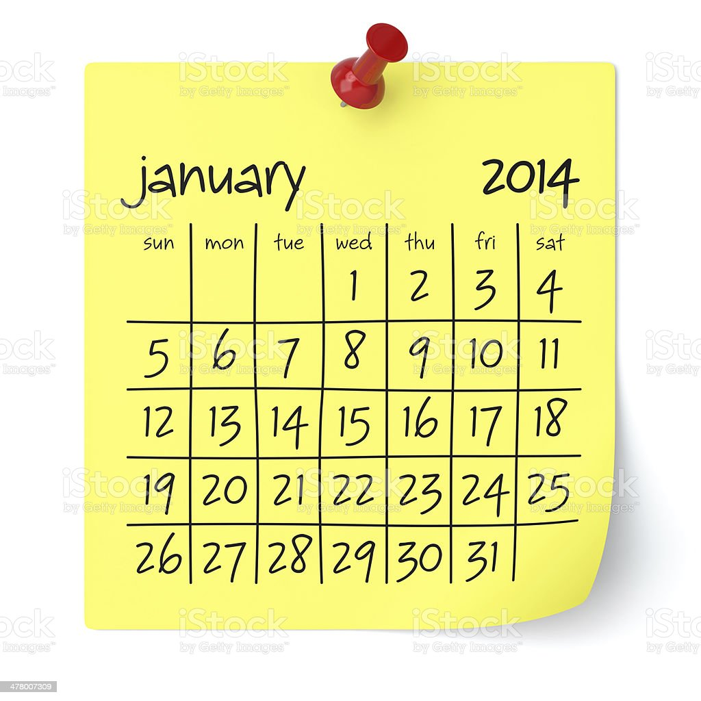 January 2014 - Calendar royalty-free stock photo