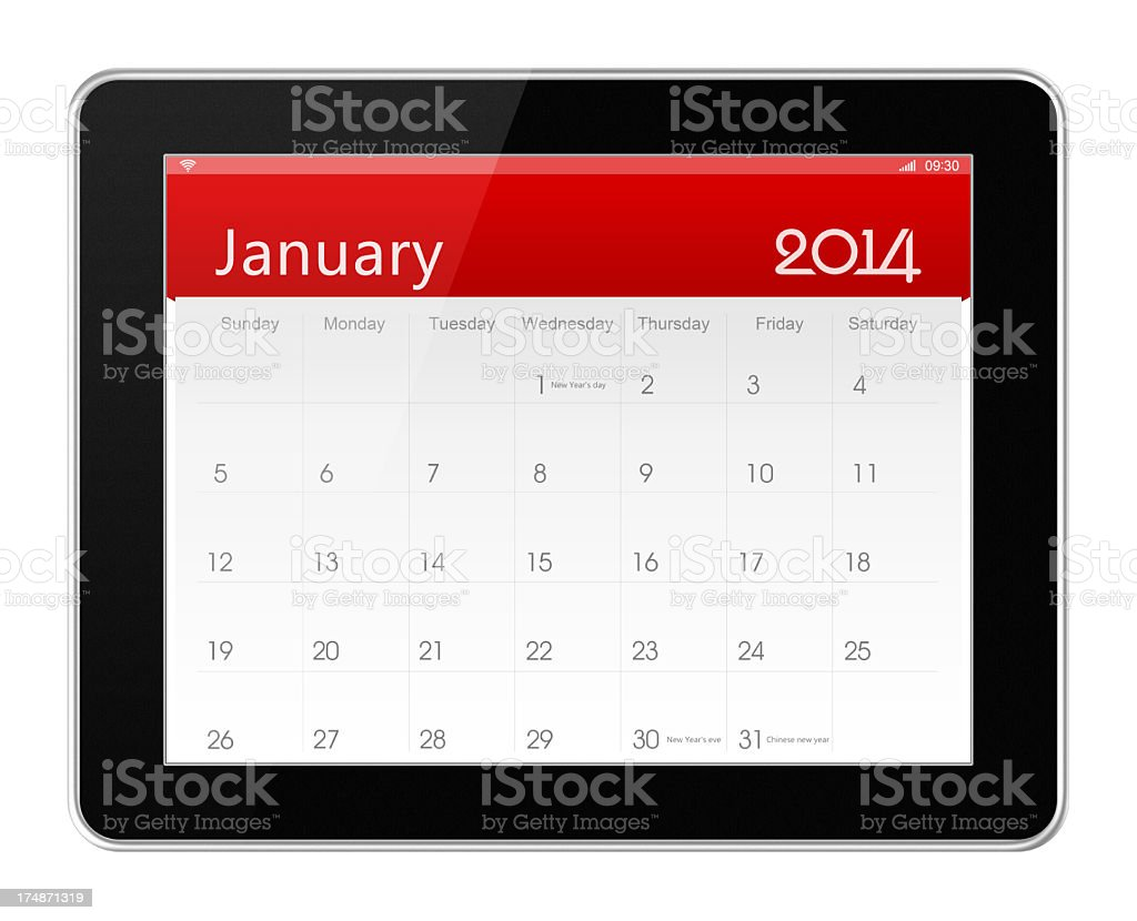 January 2014 Calender on digital tablet royalty-free stock photo