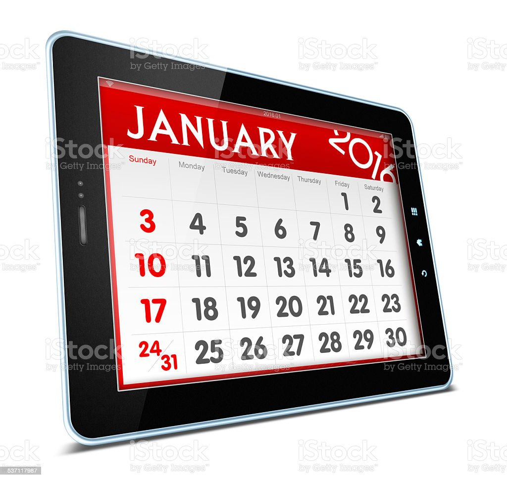 January 2016 Calender on digital tablet isolated on white stock photo