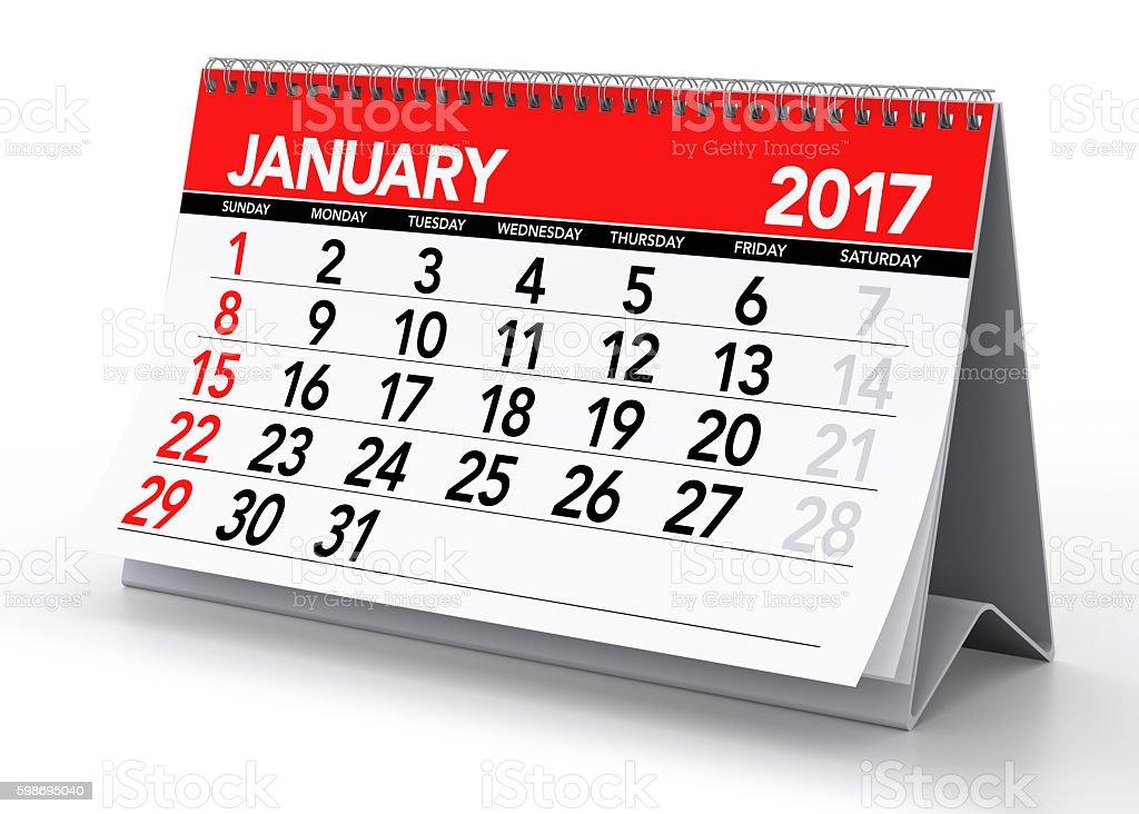 January 2017 Calendar stock photo