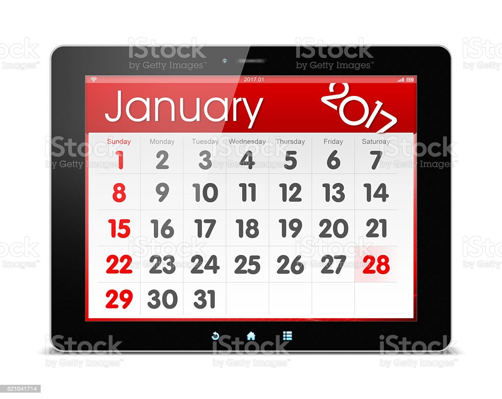 January 2017 Calender on digital tablet (Clipping path!) stock photo
