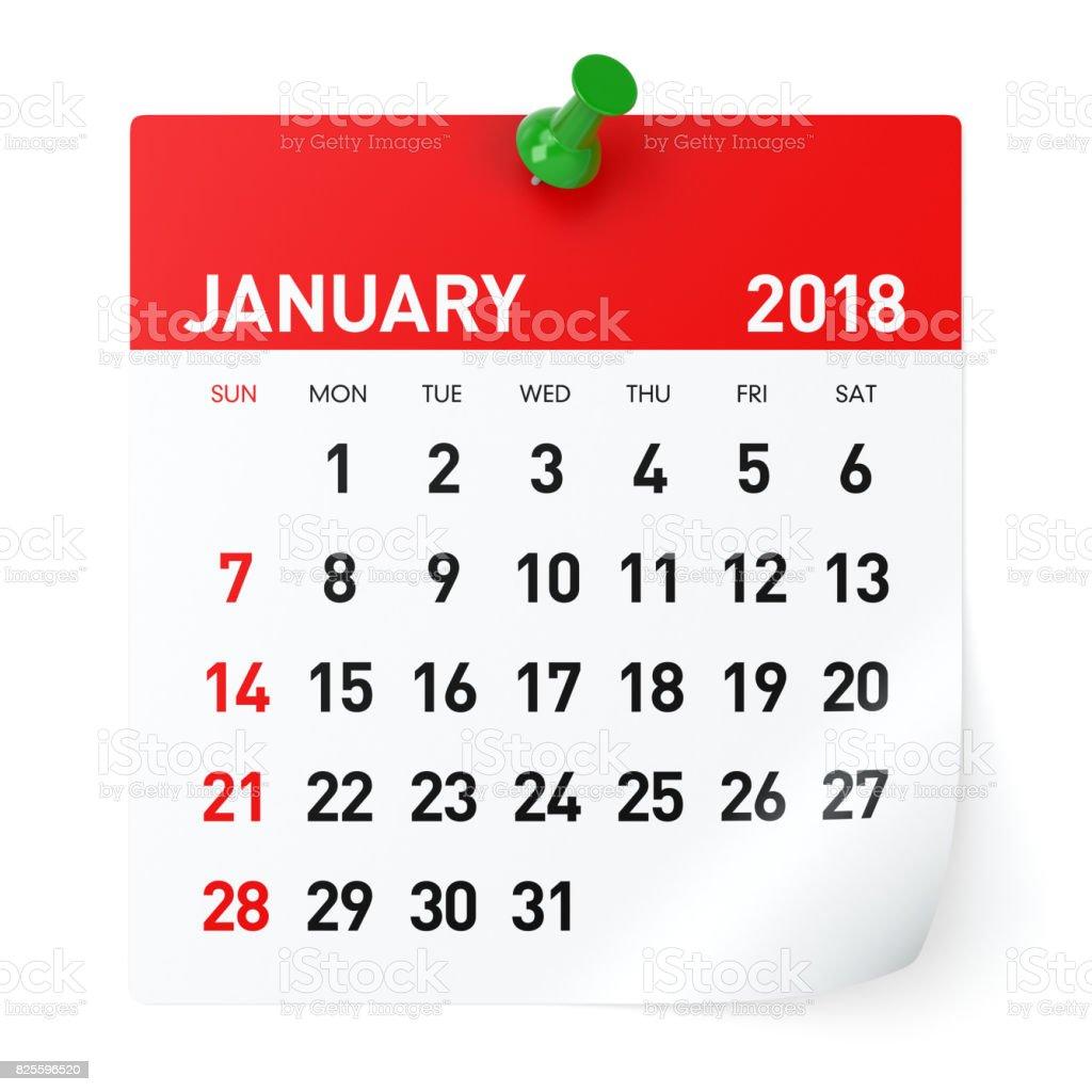 January 2018 - Calendar stock photo
