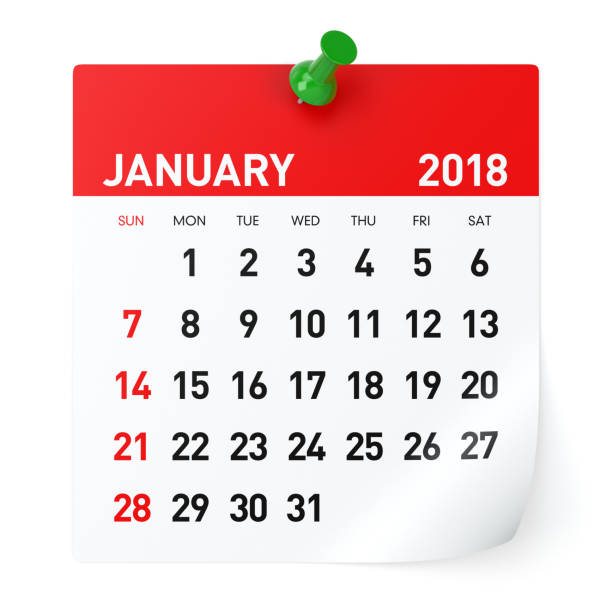 January 2018 - Calendar stock photo