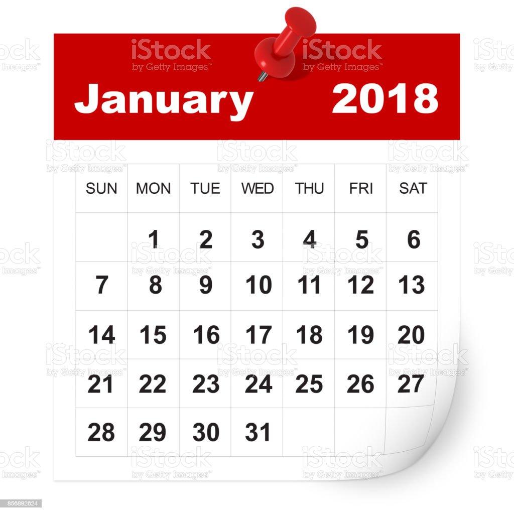 January 2018 calendar stock photo