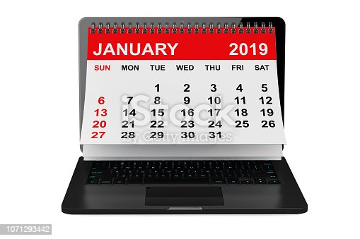 istock January 2019 calendar over laptop screen. 3d rendering 1071293442