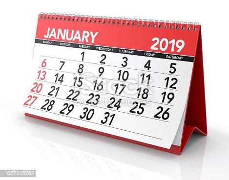 istock January 2019 Calendar. 1027015762