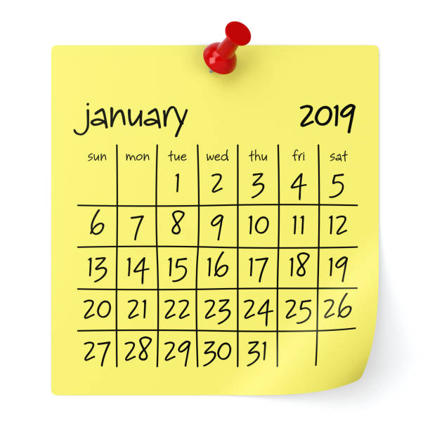 january 2019 calendar. - new years day stock pictures, royalty-free photos & images