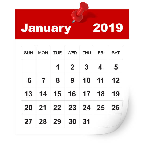 January 2019 calendar stock photo