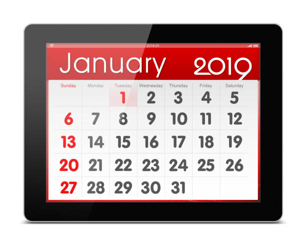 January 2019 Calender on digital tablet isolated on white background stock photo