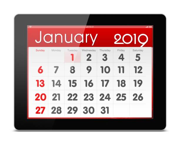 kalender januar 2019 auf digitale tablet isoliert auf weißem hintergrund - chinesischer kalender stock-fotos und bilder