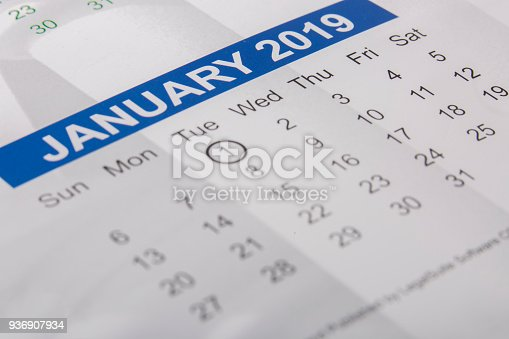 istock January 2019 month printed on a calendar 936907934