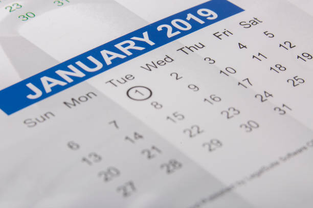 January 2019 month printed on a calendar stock photo