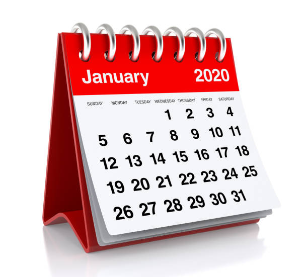 january 2020 calendar. isolated on white background. 3d illustration - new years day stock pictures, royalty-free photos & images