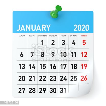 istock January 2020  -Calendar. Isolated on White Background. 3D Illustration 1168722136