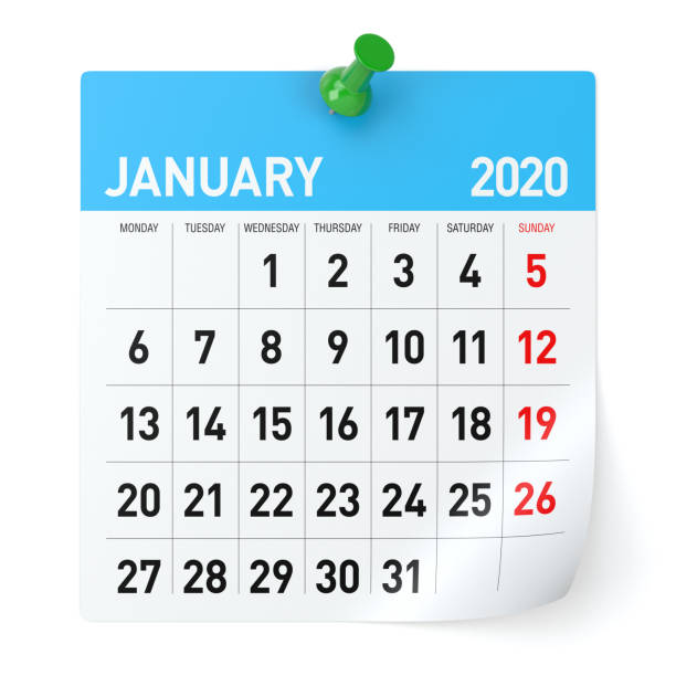 january 2020  -calendar. isolated on white background. 3d illustration - new years day stock pictures, royalty-free photos & images