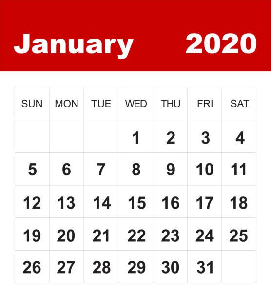 januari 2020 kalender - januari bildbanksfoton och bilder