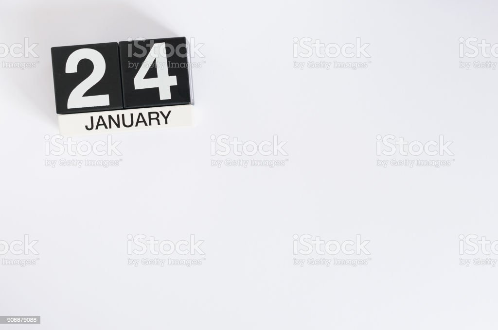 January 24th. Day 24 of month, calendar on white background. Winter concept. Empty space for text stock photo
