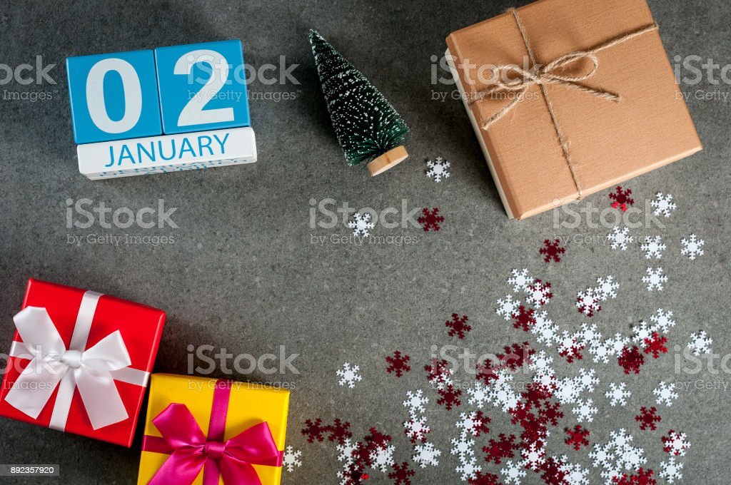 January 2nd. Image 2 day of january month, calendar at christmas and happy new year background with gifts stock photo