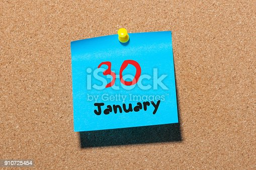 619522908istockphoto January 30th. Day 30 of month, Calendar on cork notice board. New year at work concept. Winter time. Empty space for text 910725454