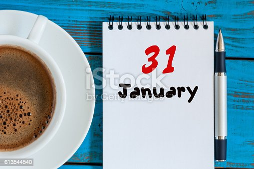 istock January 31st. Day 31 of month, calendar on workplace background 613544540