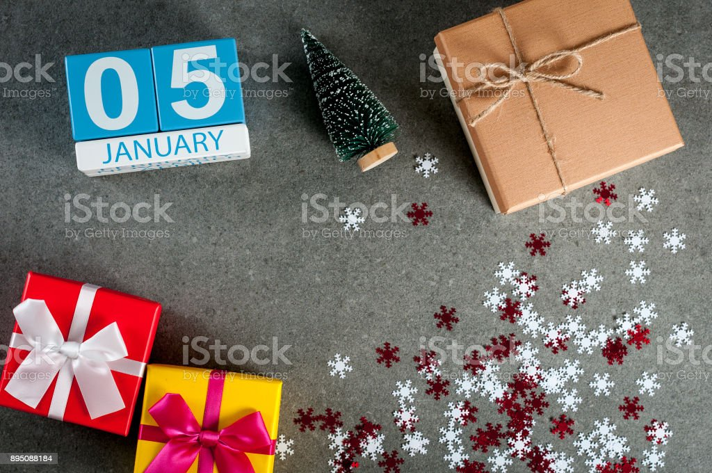January 5th. Image 5 day of january month, calendar at christmas and happy new year background with gifts stock photo