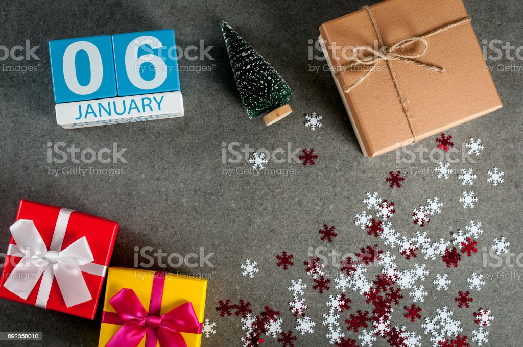 January 6th. Image 6 day of january month, calendar at christmas and happy new year background with gifts stock photo