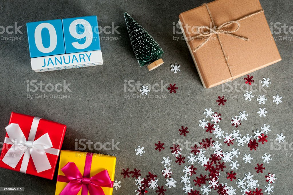 January 9th. Image 9 day of january month, calendar at christmas and happy new year background with gifts stock photo