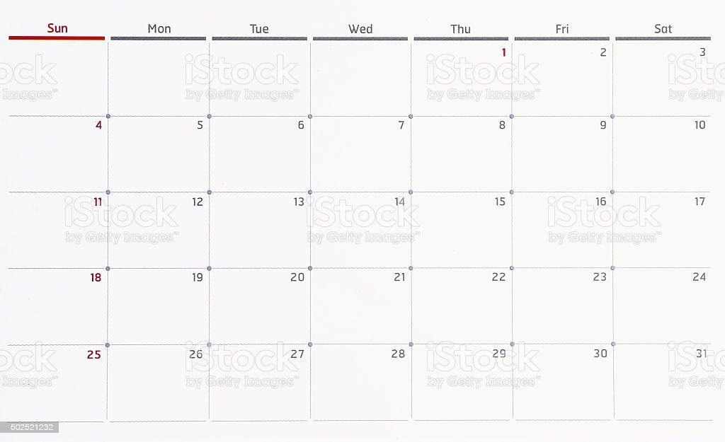 January calendar month. stock photo