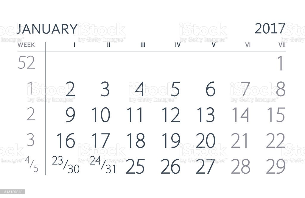 January. Calendar of the year two thousand seventeen. stock photo