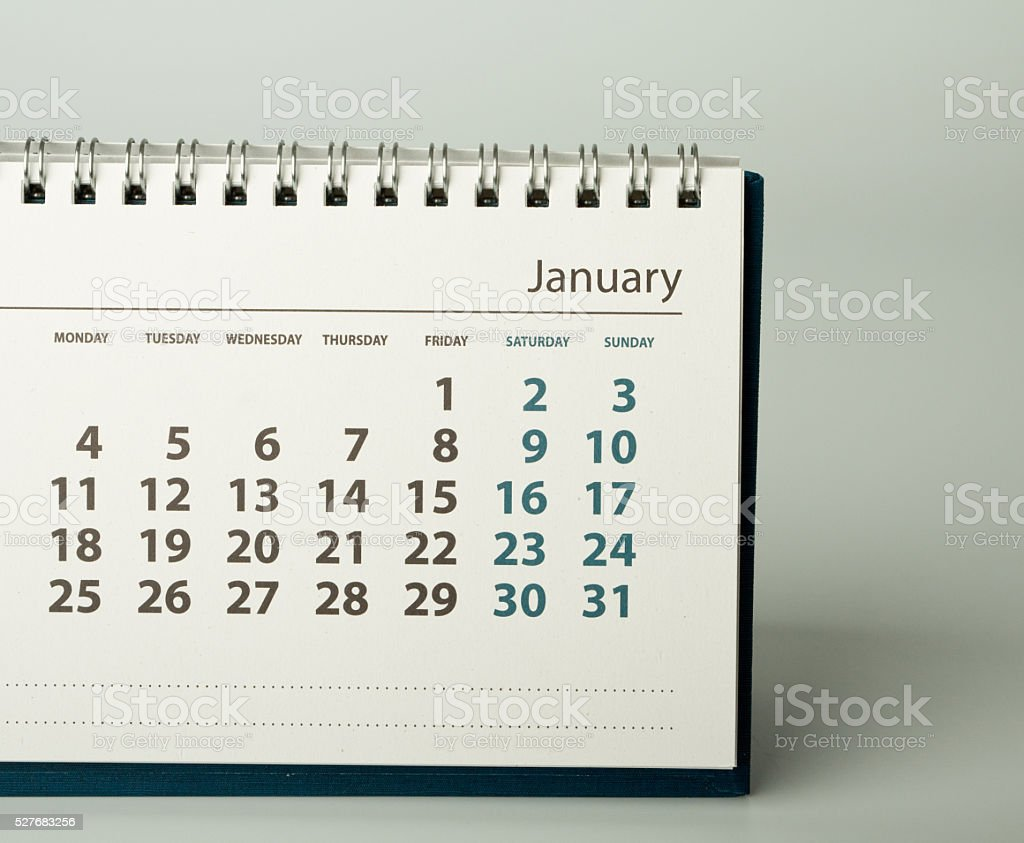 January. Calendar of the year two thousand sixteen. stock photo