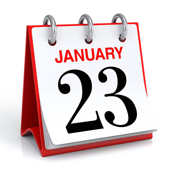 january calendar - number 23 stock photos and pictures