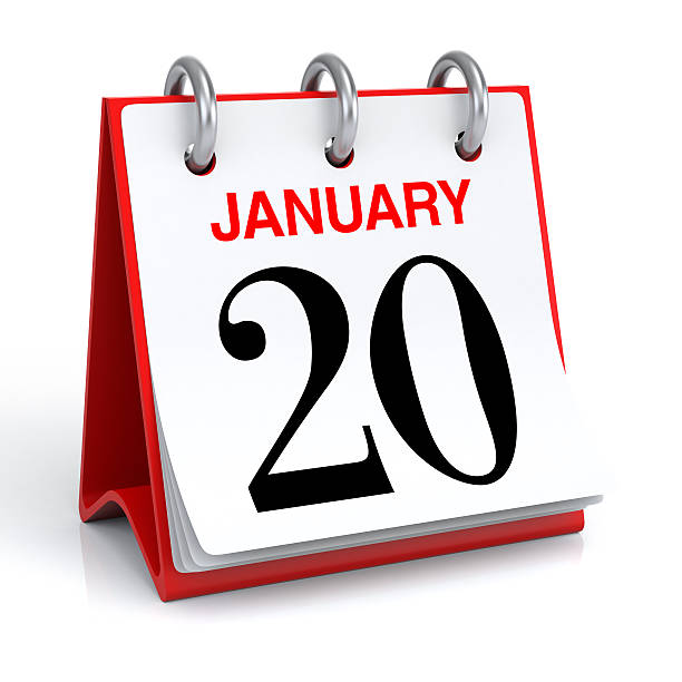 January Calendar 3D rendering martin luther king day stock pictures, royalty-free photos & images
