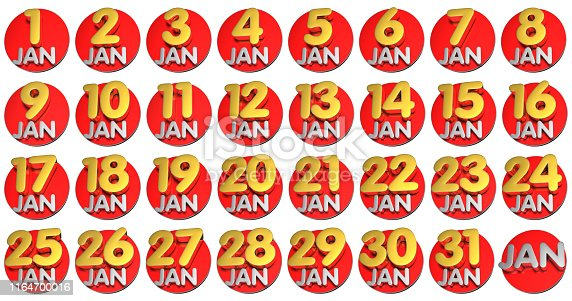 istock January date 3d.(with Clipping Path). 1164700016