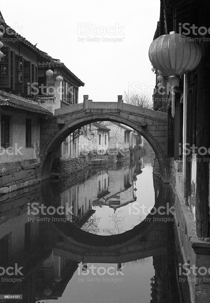January. Morning in Zhouzhuang. B/w royalty-free stock photo
