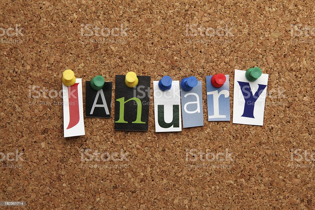 January pinned on noticeboard stock photo