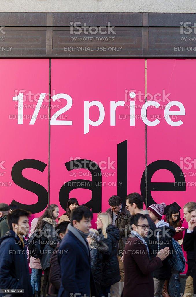 January sales window display on Oxford Street, London stock photo