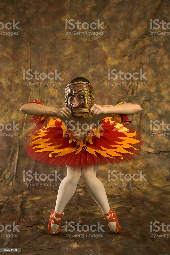 Janus Ballerina in a Firebird Costume stock photo