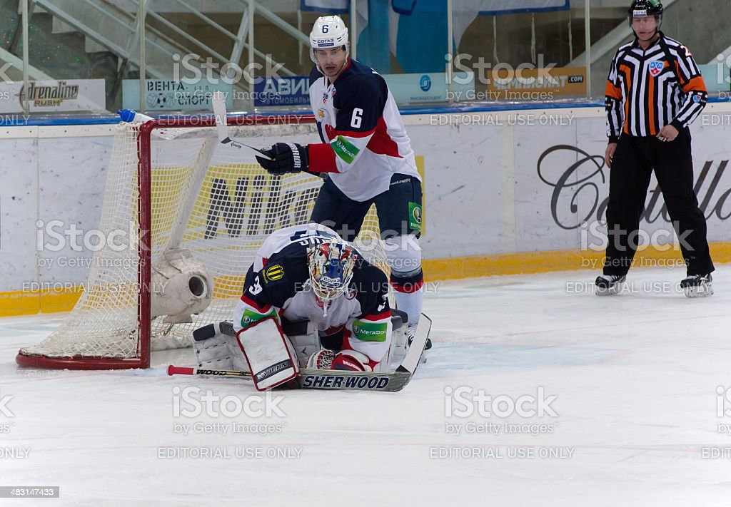 Janus Jaroslav (32) goaltender of Slovan team stock photo