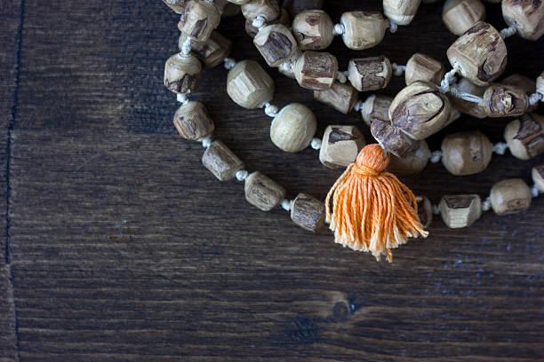 Japa mala rosary - hinduism and buddism rosary made stock photo