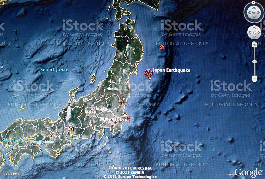 Japan 2011 Earthquake Satellite Map stock photo
