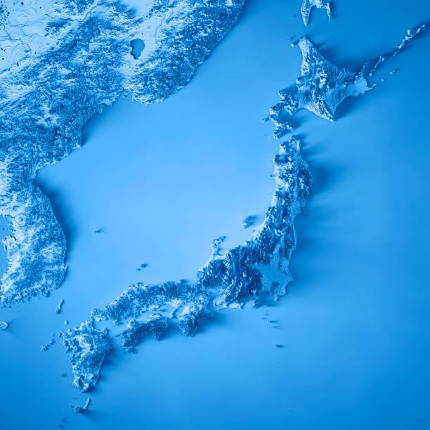 日本 3 d レンダリング地形図青 - 日本 地図 ストックフォトと画像