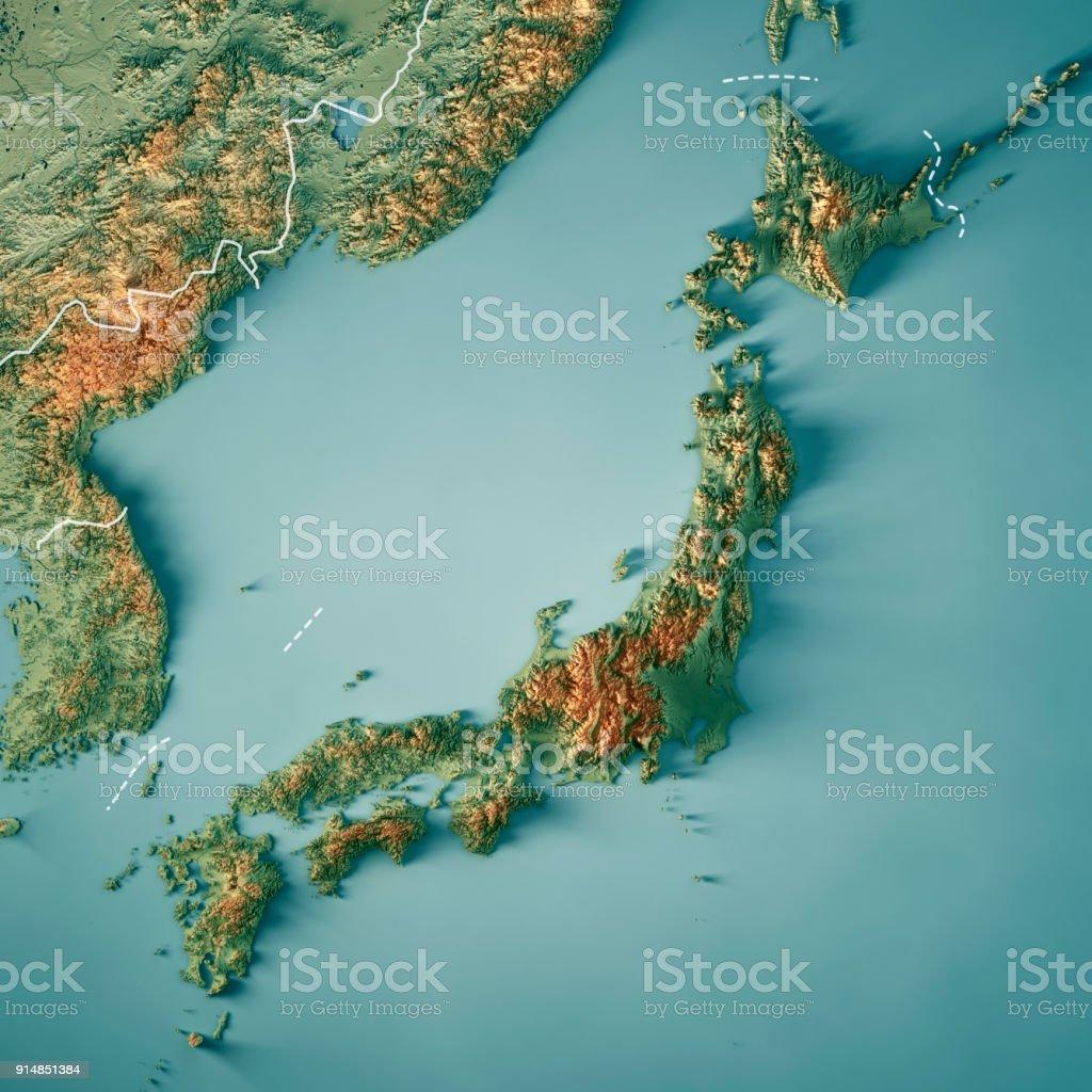 Japan Karte Physisch.3d Render Topographische Karte Grenze In Japan Stockfoto Und